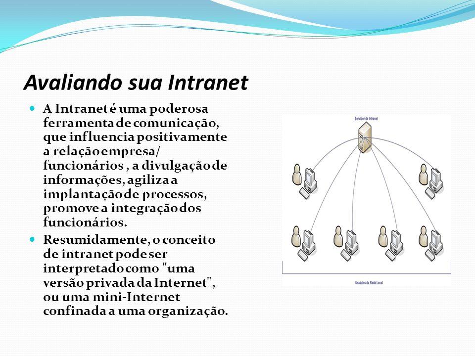 Componentes de uma Intranet Servidores Web Navegadores (browser) Ferramentas de publicação na Web Bancos de dados Firewall