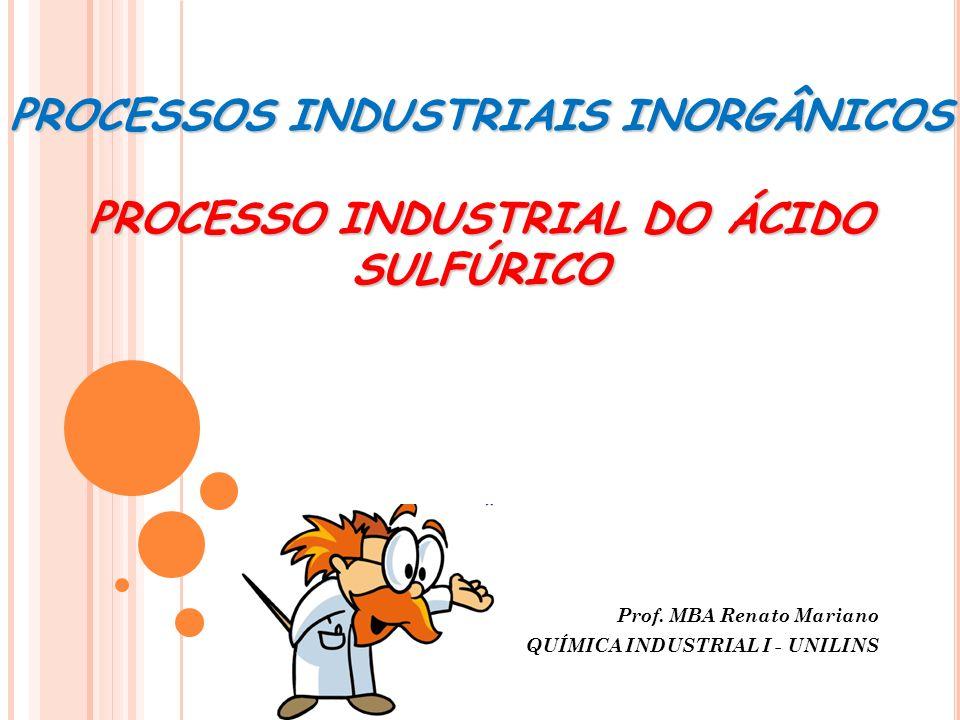 PROCESSOS INDUSTRIAIS INORGÂNICOS PROCESSO INDUSTRIAL DO ÁCIDO SULFÚRICO Prof. MBA Renato Mariano QUÍMICA INDUSTRIAL I - UNILINS