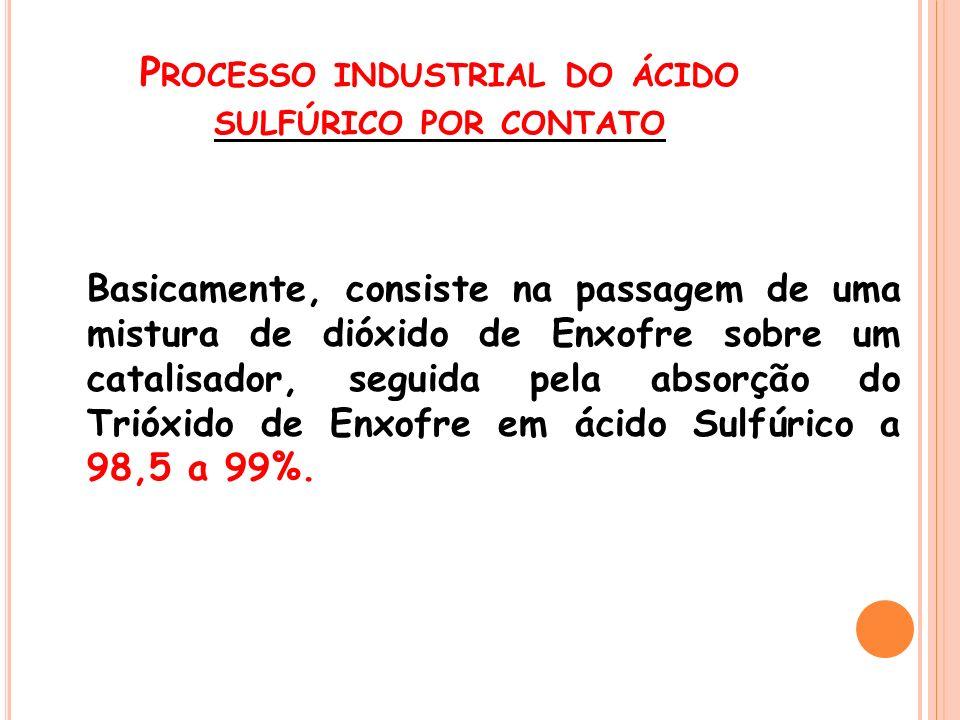 P ROCESSO INDUSTRIAL DO ÁCIDO SULFÚRICO POR CONTATO Basicamente, consiste na passagem de uma mistura de dióxido de Enxofre sobre um catalisador, segui