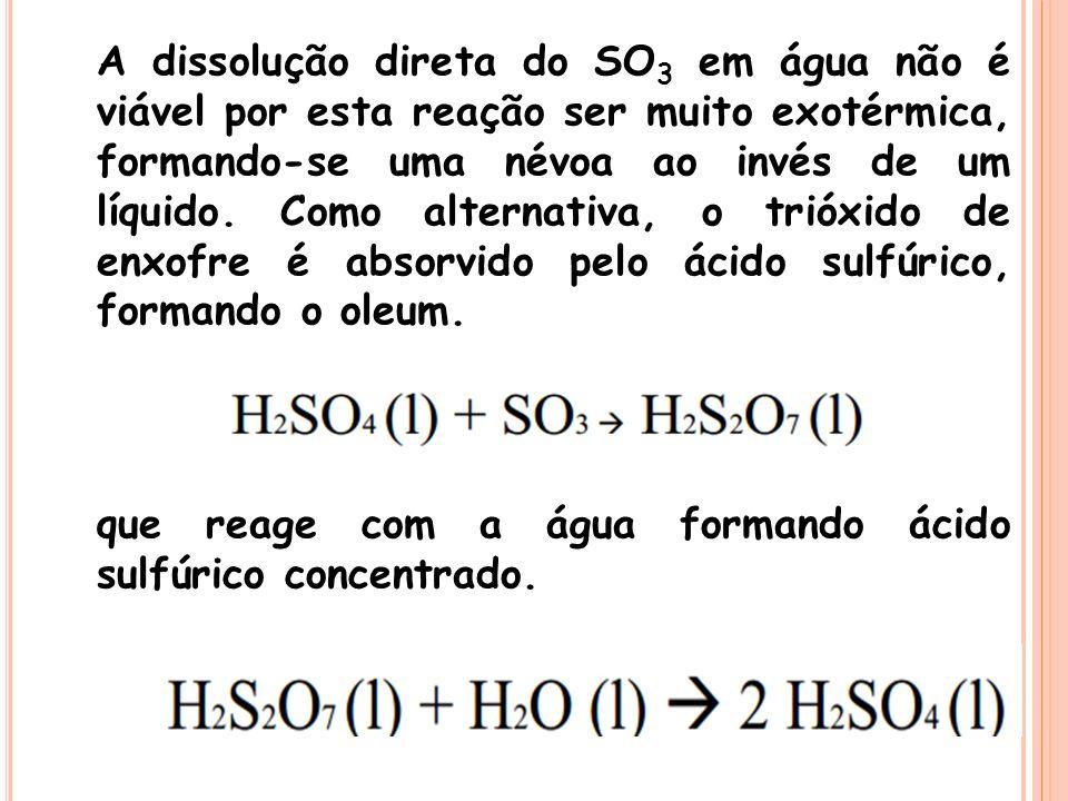 A dissolução direta do SO 3 em água não é viável por esta reação ser muito exotérmica, formando-se uma névoa ao invés de um líquido. Como alternativa,