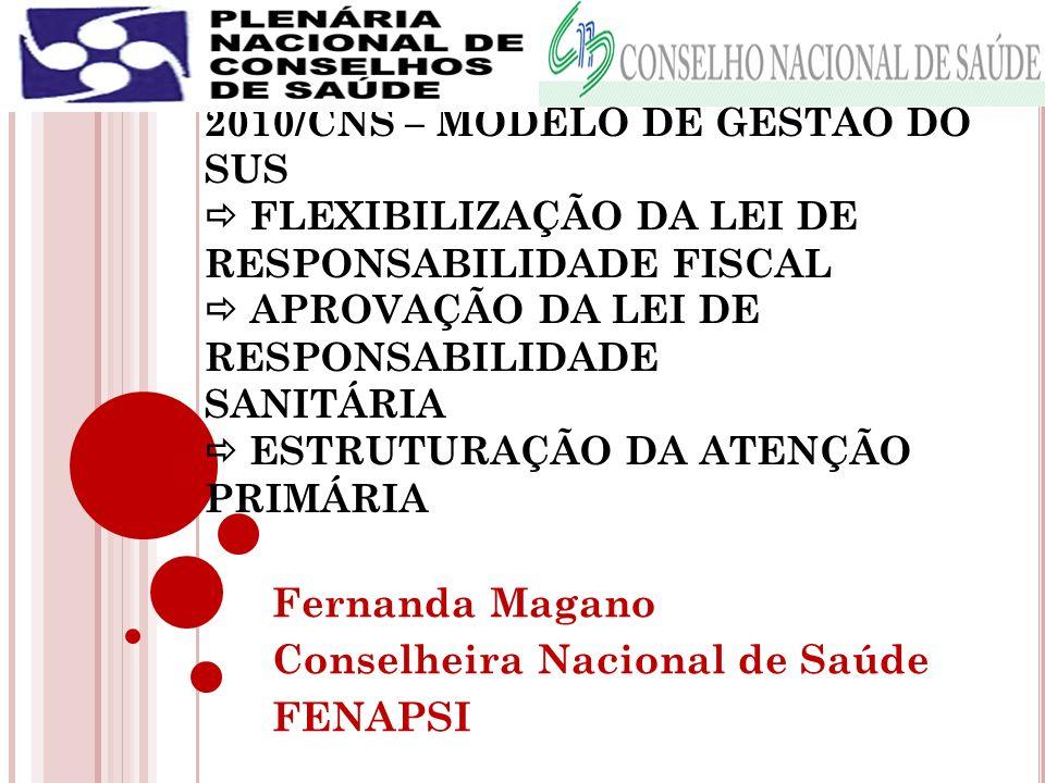 MESA II – AGENDA POLÍTICA DE 2010/CNS – MODELO DE GESTÃO DO SUS FLEXIBILIZAÇÃO DA LEI DE RESPONSABILIDADE FISCAL APROVAÇÃO DA LEI DE RESPONSABILIDADE