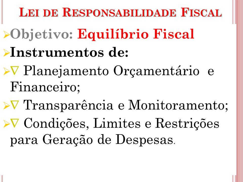 L EI DE R ESPONSABILIDADE F ISCAL Objetivo: Equilíbrio Fiscal Instrumentos de: Planejamento Orçamentário e Financeiro; Transparência e Monitoramento;