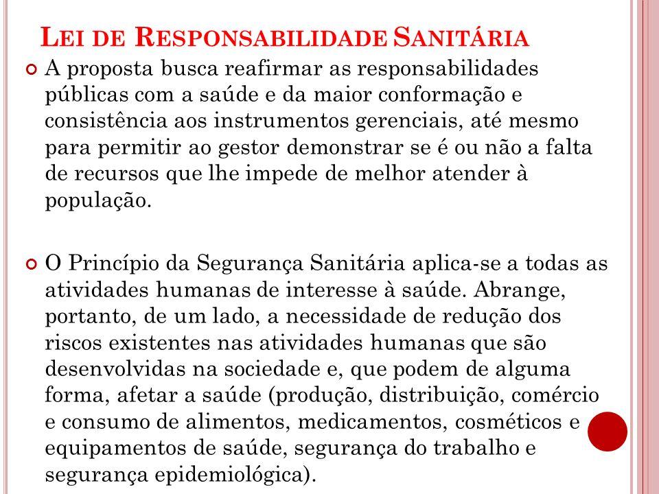 L EI DE R ESPONSABILIDADE S ANITÁRIA A proposta busca reafirmar as responsabilidades públicas com a saúde e da maior conformação e consistência aos in