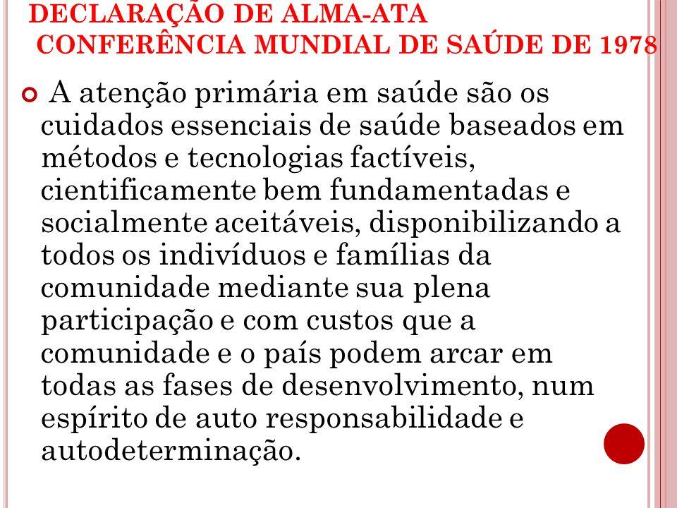 DECLARAÇÃO DE ALMA-ATA CONFERÊNCIA MUNDIAL DE SAÚDE DE 1978 A atenção primária em saúde são os cuidados essenciais de saúde baseados em métodos e tecn