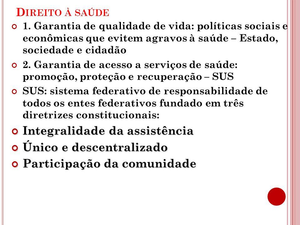 D IREITO À SAÚDE 1. Garantia de qualidade de vida: políticas sociais e econômicas que evitem agravos à saúde – Estado, sociedade e cidadão 2. Garantia