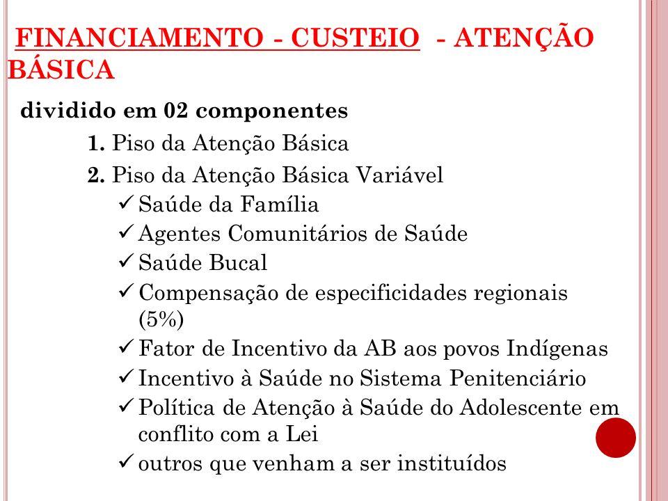 FINANCIAMENTO - CUSTEIO - ATENÇÃO BÁSICA dividido em 02 componentes 1. Piso da Atenção Básica 2. Piso da Atenção Básica Variável Saúde da Família Agen