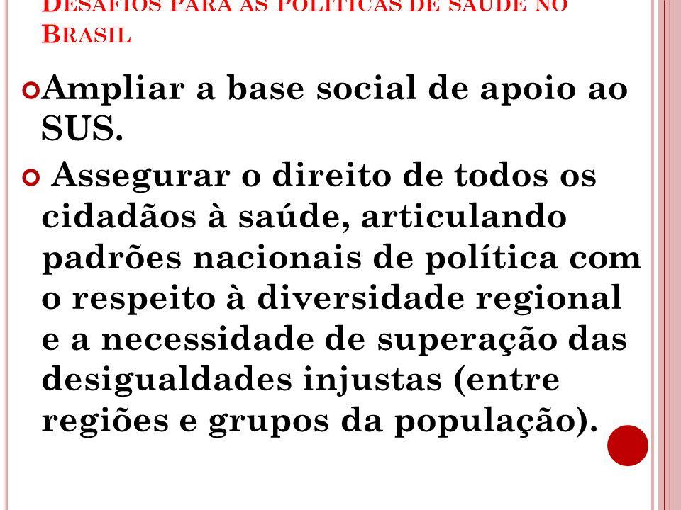 D ESAFIOS PARA AS POLÍTICAS DE SAÚDE NO B RASIL Ampliar a base social de apoio ao SUS. Assegurar o direito de todos os cidadãos à saúde, articulando p