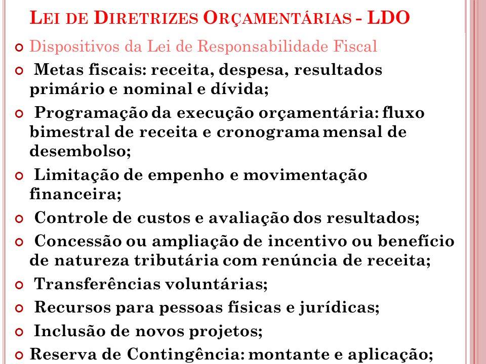 L EI DE D IRETRIZES O RÇAMENTÁRIAS - LDO Dispositivos da Lei de Responsabilidade Fiscal Metas fiscais: receita, despesa, resultados primário e nominal