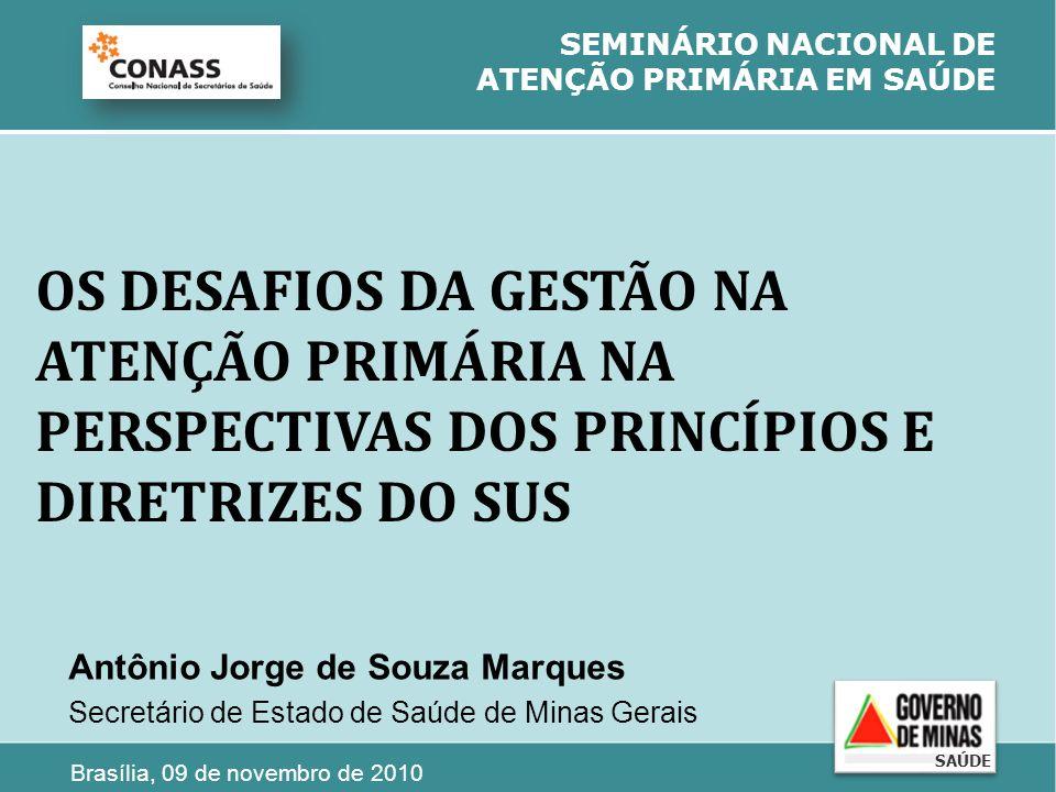 OS DESAFIOS DA GESTÃO NA ATENÇÃO PRIMÁRIA NA PERSPECTIVAS DOS PRINCÍPIOS E DIRETRIZES DO SUS SEMINÁRIO NACIONAL DE ATENÇÃO PRIMÁRIA EM SAÚDE Antônio J