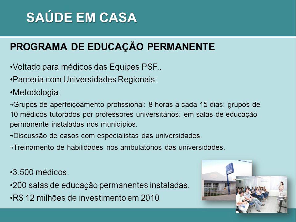 PROGRAMA DE EDUCAÇÃO PERMANENTE Voltado para médicos das Equipes PSF.. Parceria com Universidades Regionais: Metodologia: ¬ Grupos de aperfeiçoamento