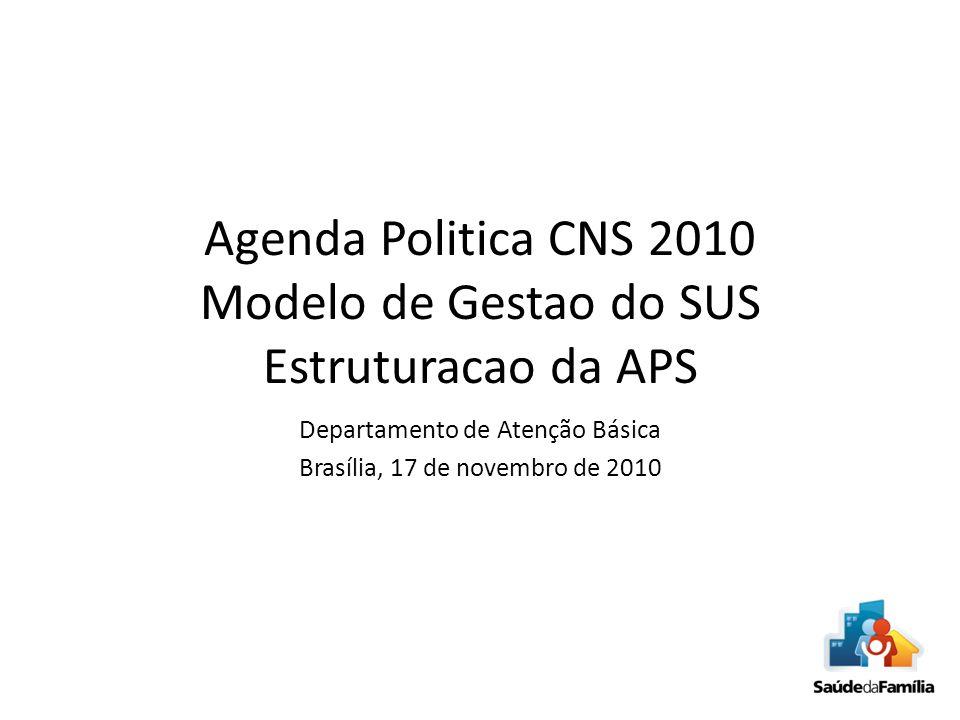 Agenda Politica CNS 2010 Modelo de Gestao do SUS Estruturacao da APS Departamento de Atenção Básica Brasília, 17 de novembro de 2010