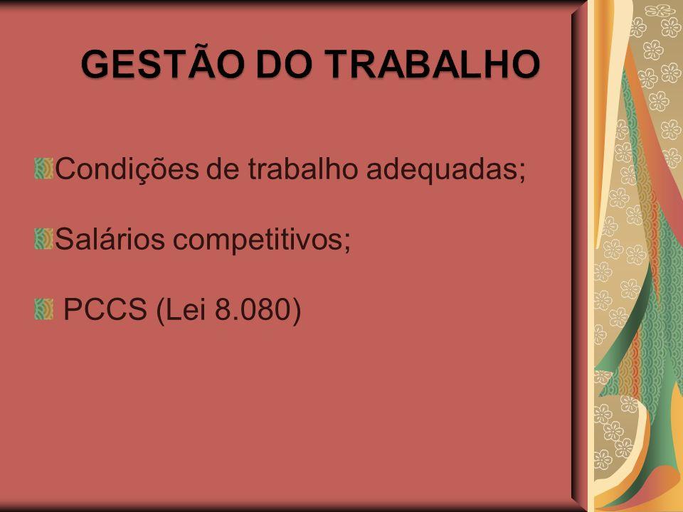 Condições de trabalho adequadas; Salários competitivos; PCCS (Lei 8.080)