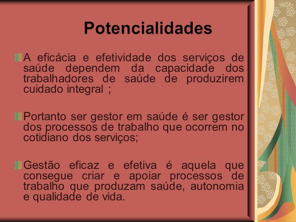 A eficácia e efetividade dos serviços de saúde dependem da capacidade dos trabalhadores de saúde de produzirem cuidado integral ; Portanto ser gestor