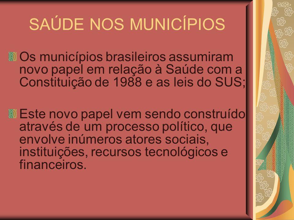 SAÚDE NOS MUNICÍPIOS Os municípios brasileiros assumiram novo papel em relação à Saúde com a Constituição de 1988 e as leis do SUS; Este novo papel ve