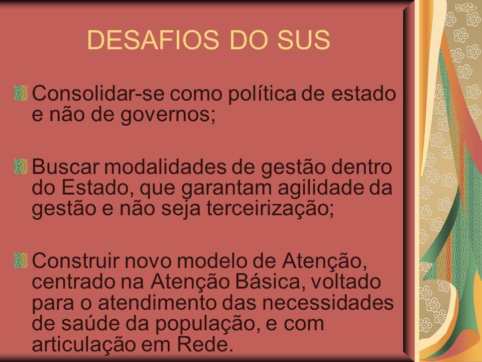 DESAFIOS DO SUS Consolidar-se como política de estado e não de governos; Buscar modalidades de gestão dentro do Estado, que garantam agilidade da gest