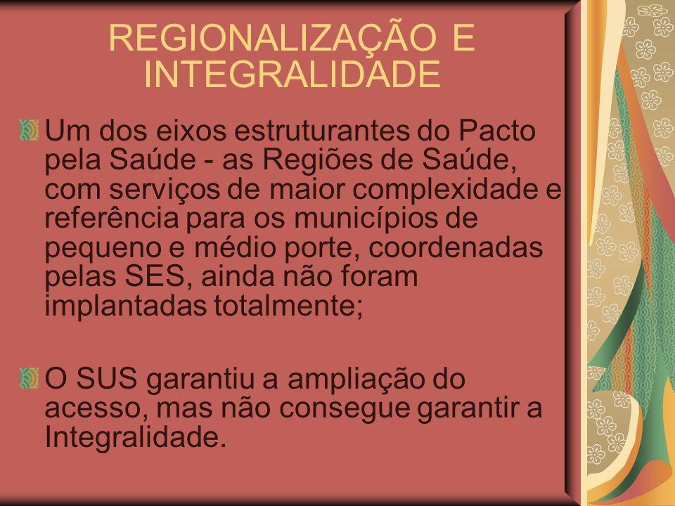 REGIONALIZAÇÃO E INTEGRALIDADE Um dos eixos estruturantes do Pacto pela Saúde - as Regiões de Saúde, com serviços de maior complexidade e referência p