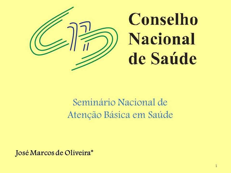 1 Seminário Nacional de Atenção Básica em Saúde José Marcos de Oliveira*