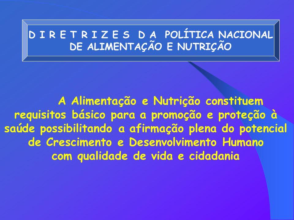 D I R E T R I Z E S D A POLÍTICA NACIONAL DE ALIMENTAÇÃO E NUTRIÇÃO A Alimentação e Nutrição constituem requisitos básico para a promoção e proteção à saúde possibilitando a afirmação plena do potencial de Crescimento e Desenvolvimento Humano com qualidade de vida e cidadania