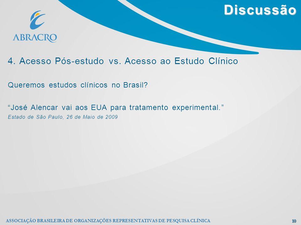 Discussão 10 ASSOCIAÇÃO BRASILEIRA DE ORGANIZAÇÕES REPRESENTATIVAS DE PESQUISA CLÍNICA 4. Acesso Pós-estudo vs. Acesso ao Estudo Clínico Queremos estu