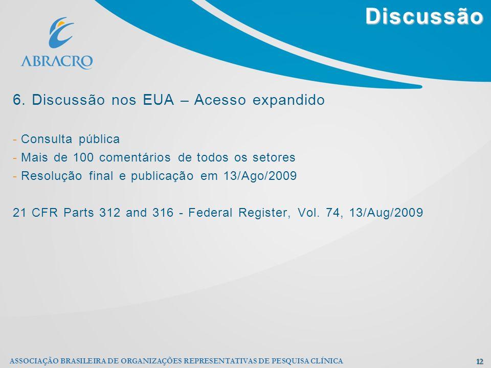 Discussão 12 ASSOCIAÇÃO BRASILEIRA DE ORGANIZAÇÕES REPRESENTATIVAS DE PESQUISA CLÍNICA 6. Discussão nos EUA – Acesso expandido - Consulta pública - Ma