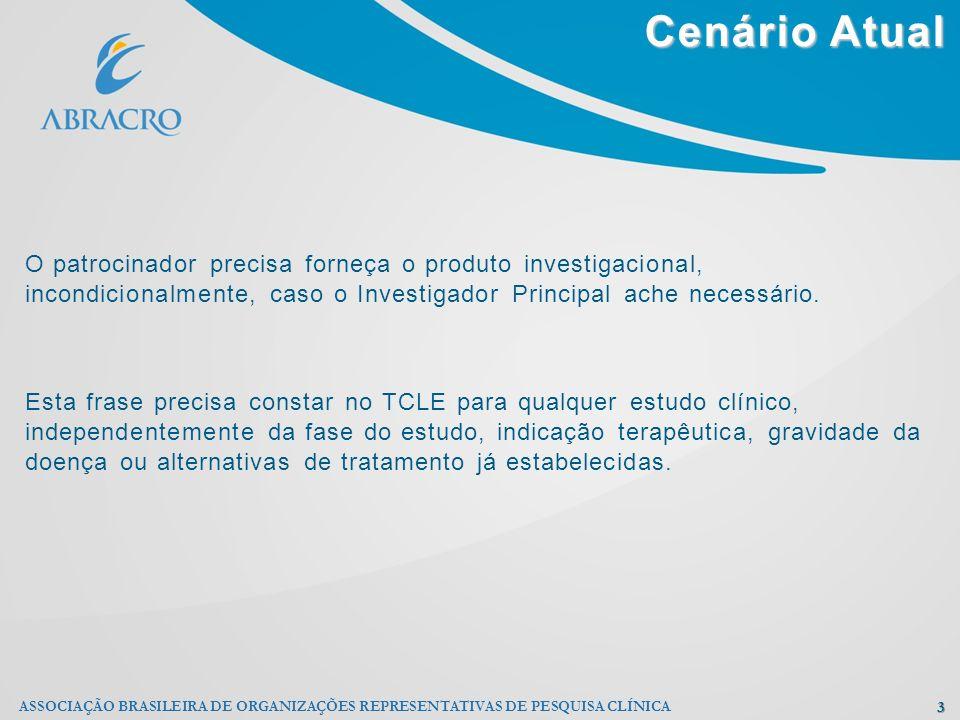 Cenário Atual 3 ASSOCIAÇÃO BRASILEIRA DE ORGANIZAÇÕES REPRESENTATIVAS DE PESQUISA CLÍNICA O patrocinador precisa forneça o produto investigacional, in