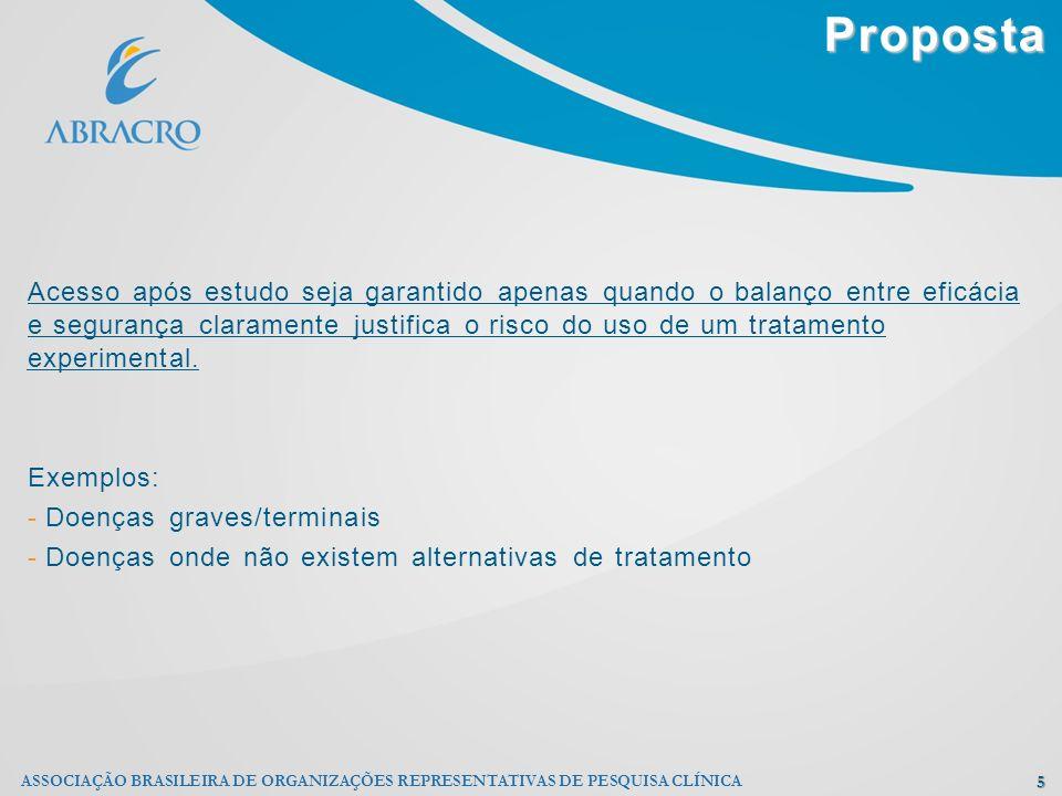 Proposta 5 ASSOCIAÇÃO BRASILEIRA DE ORGANIZAÇÕES REPRESENTATIVAS DE PESQUISA CLÍNICA Acesso após estudo seja garantido apenas quando o balanço entre e