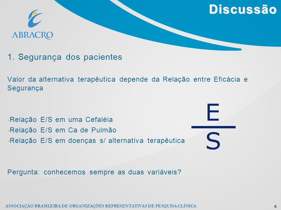 Discussão 6 ASSOCIAÇÃO BRASILEIRA DE ORGANIZAÇÕES REPRESENTATIVAS DE PESQUISA CLÍNICA 1. Segurança dos pacientes Valor da alternativa terapêutica depe