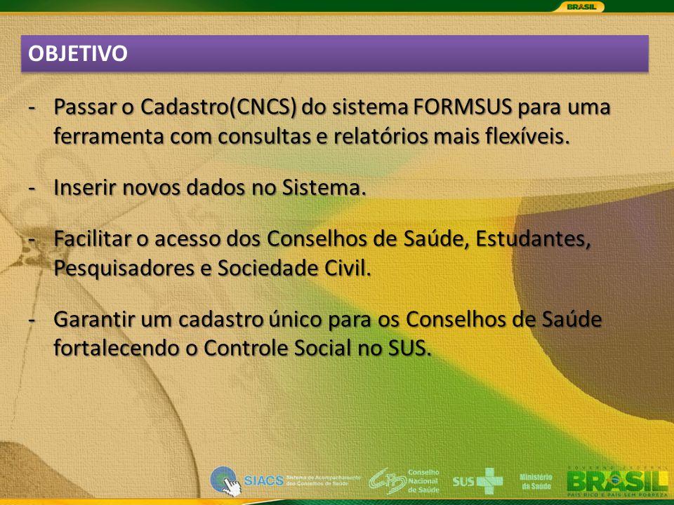 OBJETIVO -Passar o Cadastro(CNCS) do sistema FORMSUS para uma ferramenta com consultas e relatórios mais flexíveis.