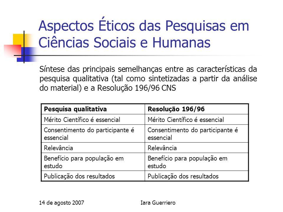 14 de agosto 2007Iara Guerriero Aspectos Éticos das Pesquisas em Ciências Sociais e Humanas Síntese das principais semelhanças entre as característica