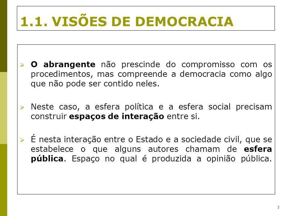 1.1. VISÕES DE DEMOCRACIA O abrangente não prescinde do compromisso com os procedimentos, mas compreende a democracia como algo que não pode ser conti