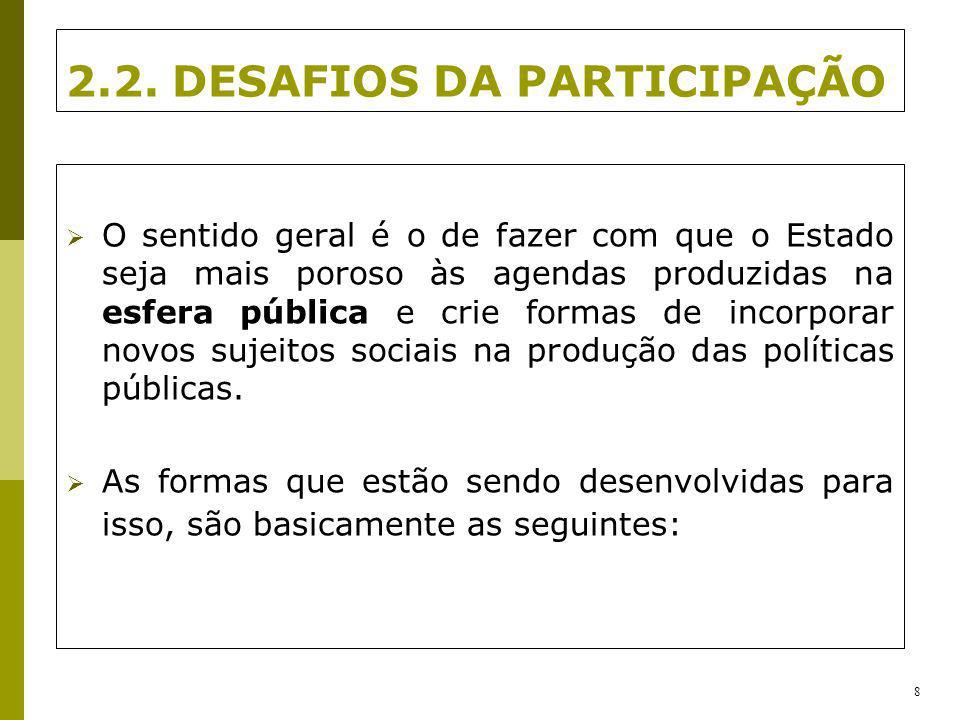 2.2. DESAFIOS DA PARTICIPAÇÃO O sentido geral é o de fazer com que o Estado seja mais poroso às agendas produzidas na esfera pública e crie formas de