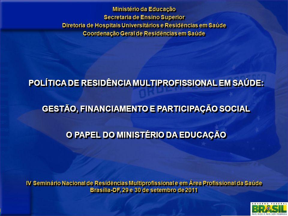 Ministério da Educação Secretaria de Ensino Superior Diretoria de Hospitais Universitários e Residências em Saúde Coordenação Geral de Residências em