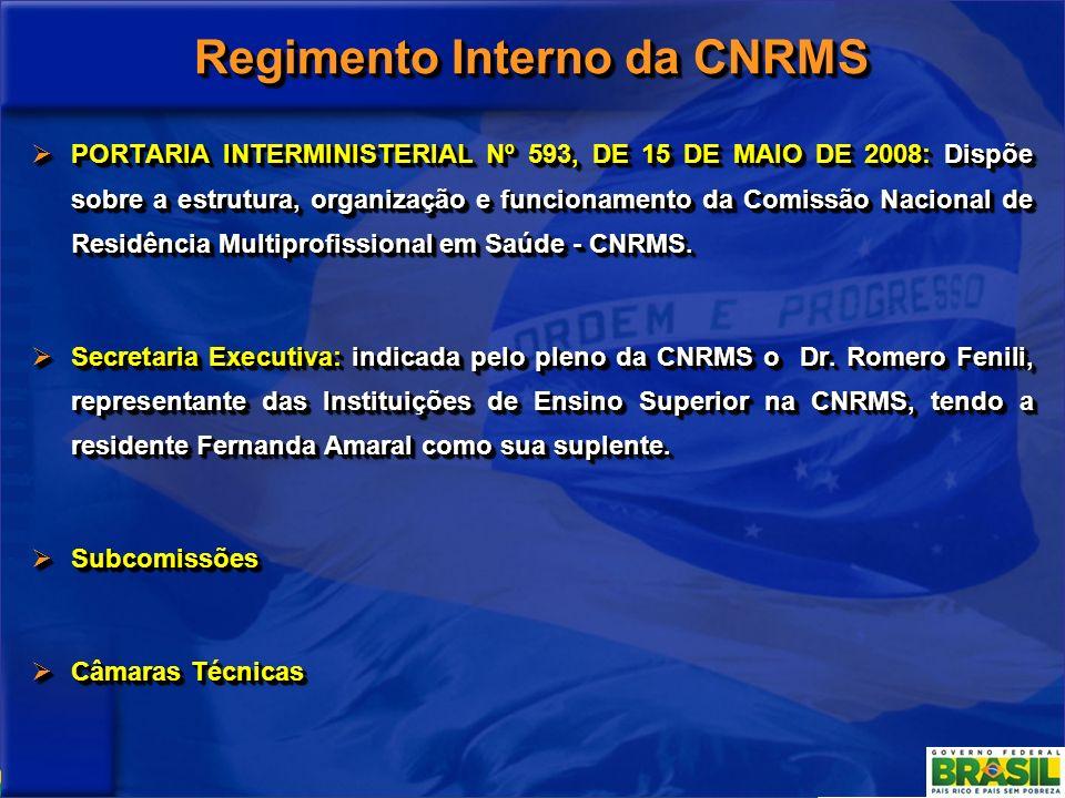 Regimento Interno da CNRMS PORTARIA INTERMINISTERIAL Nº 593, DE 15 DE MAIO DE 2008: Dispõe sobre a estrutura, organização e funcionamento da Comissão