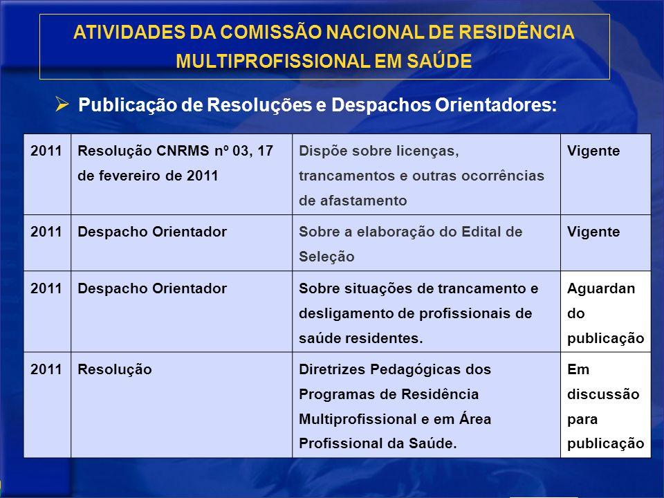 Publicação de Resoluções e Despachos Orientadores: ATIVIDADES DA COMISSÃO NACIONAL DE RESIDÊNCIA MULTIPROFISSIONAL EM SAÚDE 2011 Resolução CNRMS nº 03