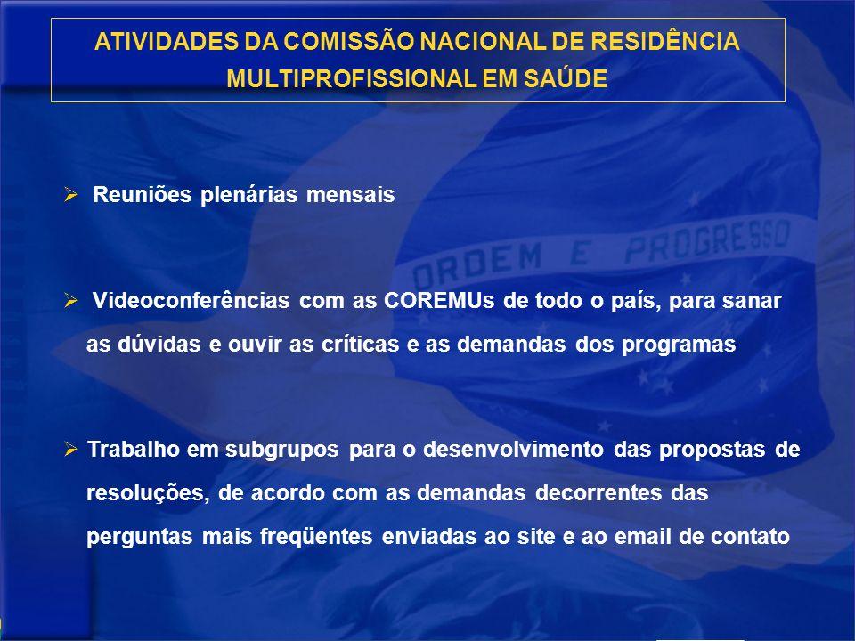 ATIVIDADES DA COMISSÃO NACIONAL DE RESIDÊNCIA MULTIPROFISSIONAL EM SAÚDE Reuniões plenárias mensais Videoconferências com as COREMUs de todo o país, p