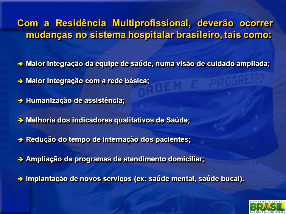 Com a Residência Multiprofissional, deverão ocorrer mudanças no sistema hospitalar brasileiro, tais como: Maior integração da equipe de saúde, numa vi