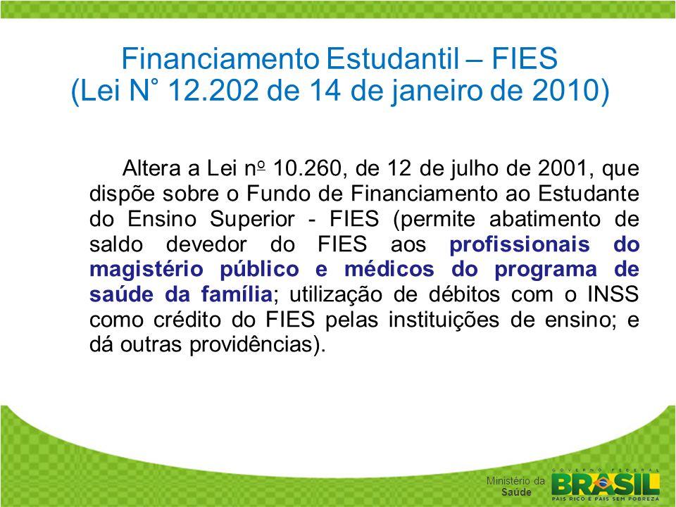 Secretaria de Gestão do Trabalho e da Educação na Saúde Ministério da Saúde Financiamento Estudantil – FIES (Lei N° 12.202 de 14 de janeiro de 2010) A