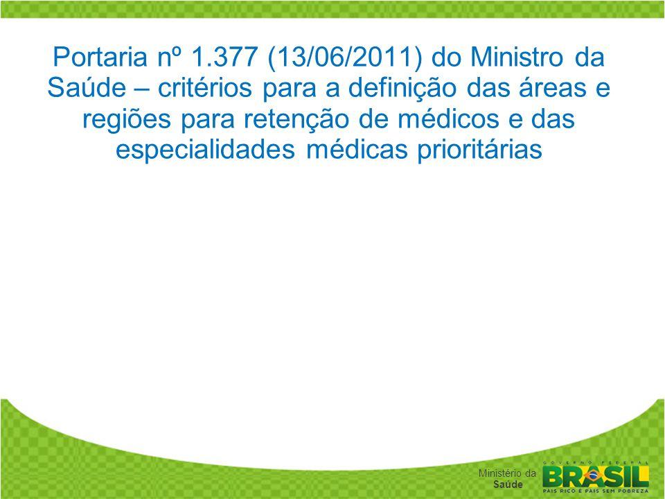 Secretaria de Gestão do Trabalho e da Educação na Saúde Ministério da Saúde Portaria nº 1.377 (13/06/2011) do Ministro da Saúde – critérios para a def