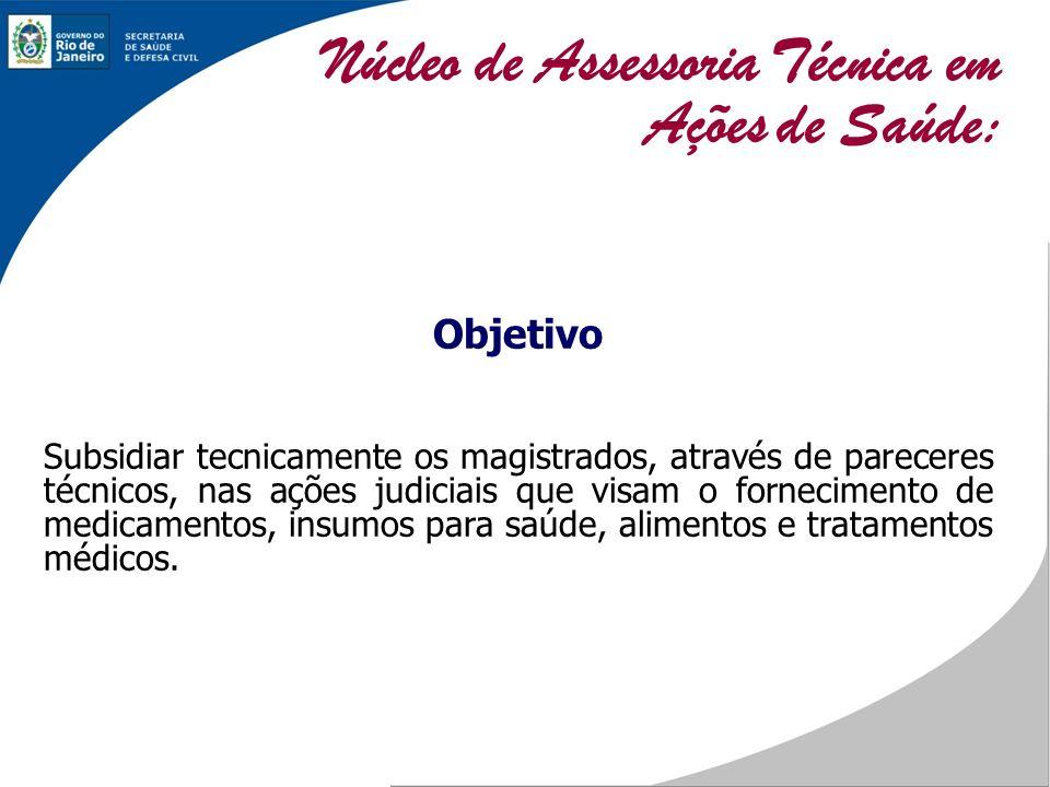 Objetivo Subsidiar tecnicamente os magistrados, através de pareceres técnicos, nas ações judiciais que visam o fornecimento de medicamentos, insumos p