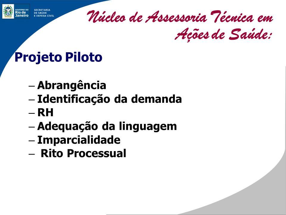 Projeto Piloto – Abrangência – Identificação da demanda – RH – Adequação da linguagem – Imparcialidade – Rito Processual Núcleo de Assessoria Técnica