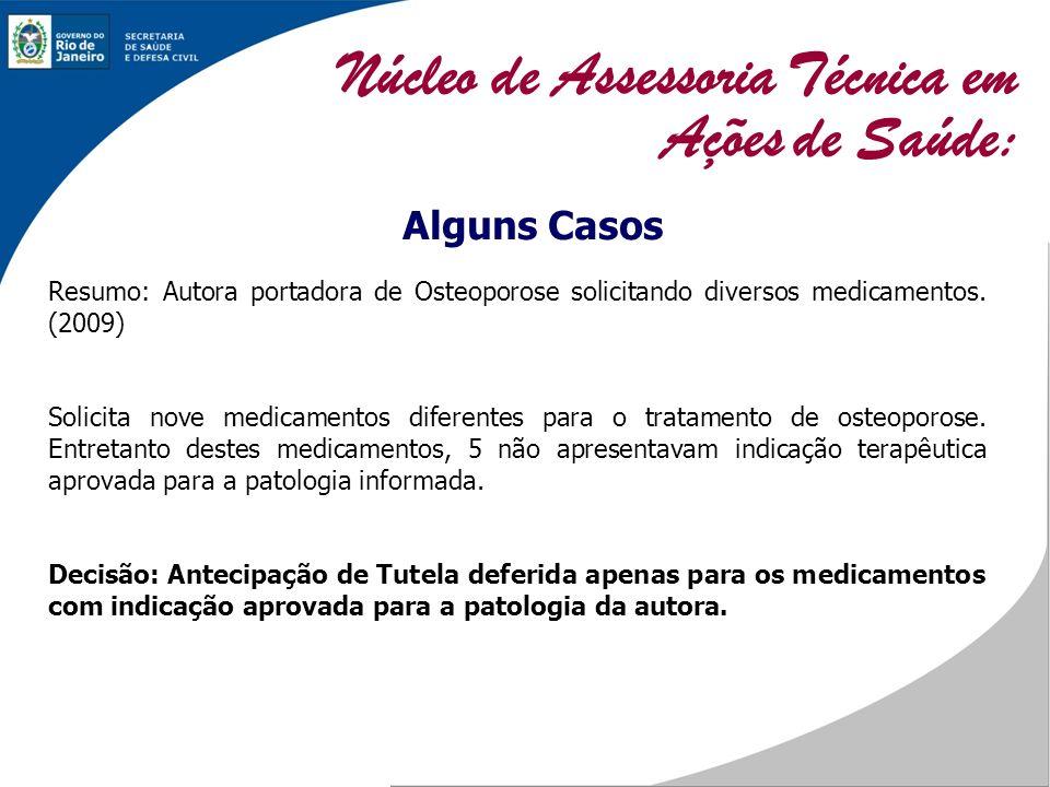 Alguns Casos Resumo: Autora portadora de Osteoporose solicitando diversos medicamentos. (2009) Solicita nove medicamentos diferentes para o tratamento