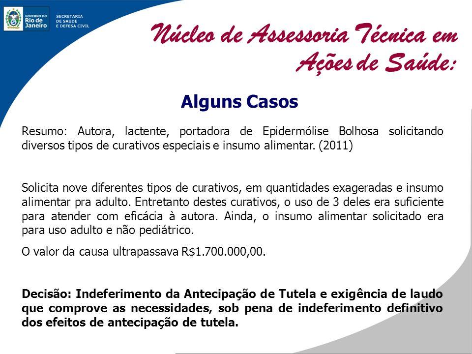 Alguns Casos Resumo: Autora, lactente, portadora de Epidermólise Bolhosa solicitando diversos tipos de curativos especiais e insumo alimentar. (2011)