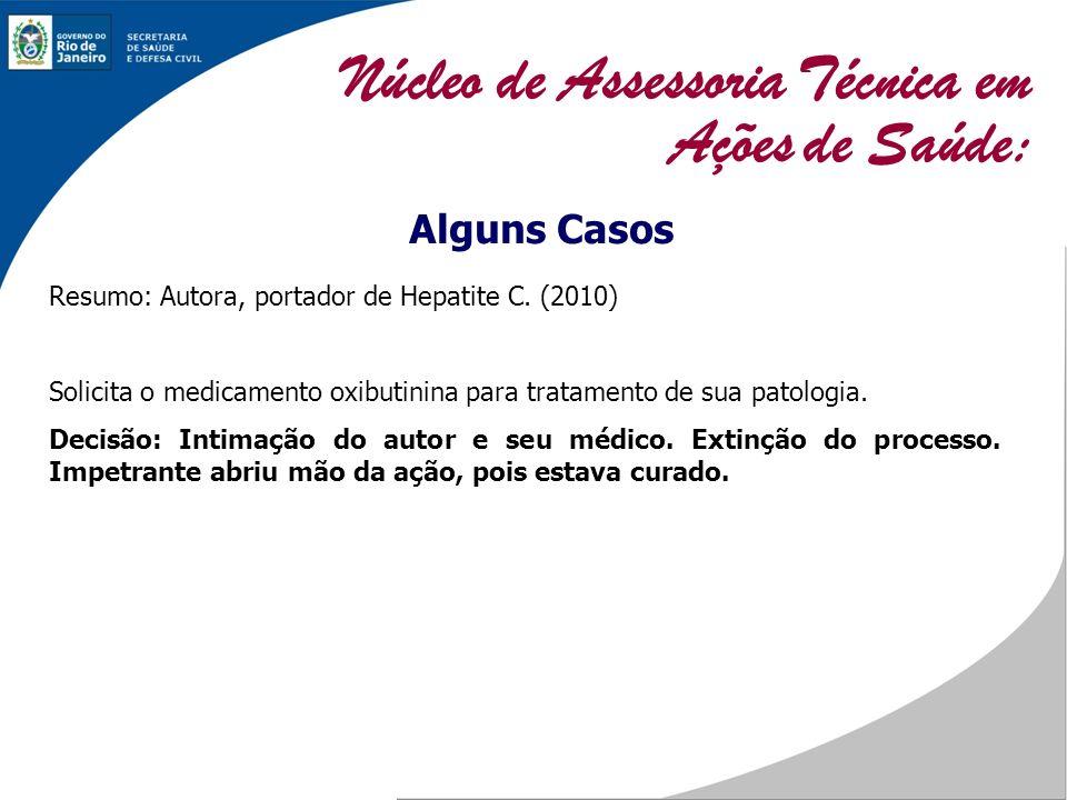 Alguns Casos Resumo: Autora, portador de Hepatite C. (2010) Solicita o medicamento oxibutinina para tratamento de sua patologia. Decisão: Intimação do