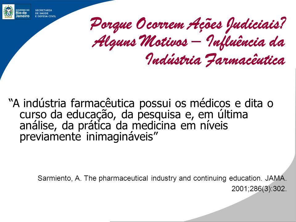 A indústria farmacêutica possui os médicos e dita o curso da educação, da pesquisa e, em última análise, da prática da medicina em níveis previamente