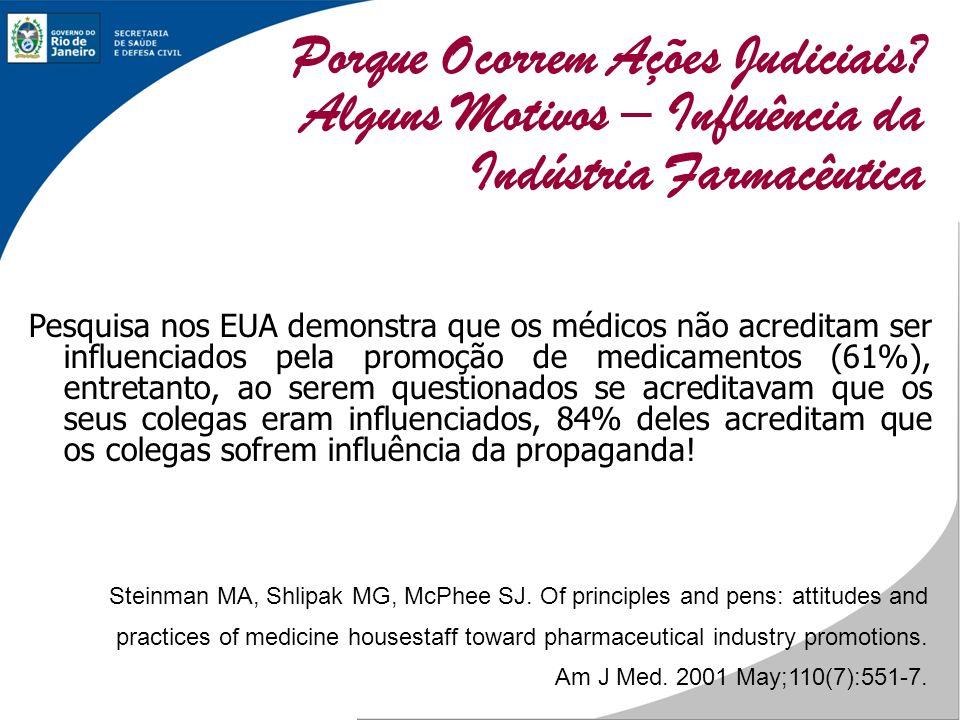 Pesquisa nos EUA demonstra que os médicos não acreditam ser influenciados pela promoção de medicamentos (61%), entretanto, ao serem questionados se ac