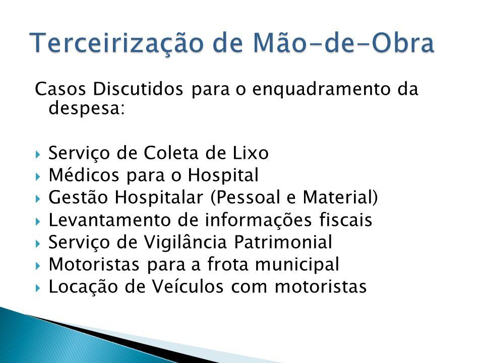 Casos Discutidos para o enquadramento da despesa: Serviço de Coleta de Lixo Médicos para o Hospital Gestão Hospitalar (Pessoal e Material) Levantament