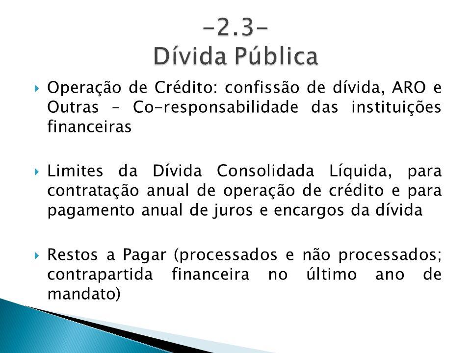 Operação de Crédito: confissão de dívida, ARO e Outras – Co-responsabilidade das instituições financeiras Limites da Dívida Consolidada Líquida, para