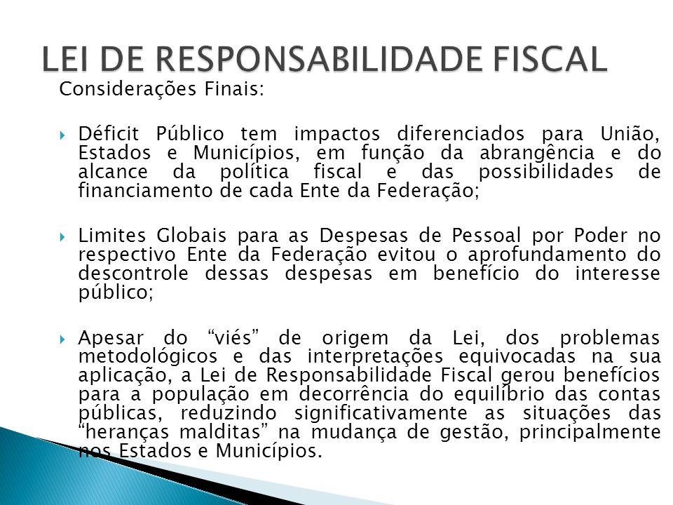 Considerações Finais: Déficit Público tem impactos diferenciados para União, Estados e Municípios, em função da abrangência e do alcance da política f