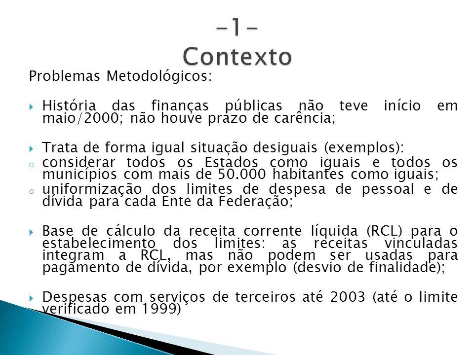 Problemas Metodológicos: História das finanças públicas não teve início em maio/2000; não houve prazo de carência; Trata de forma igual situação desig