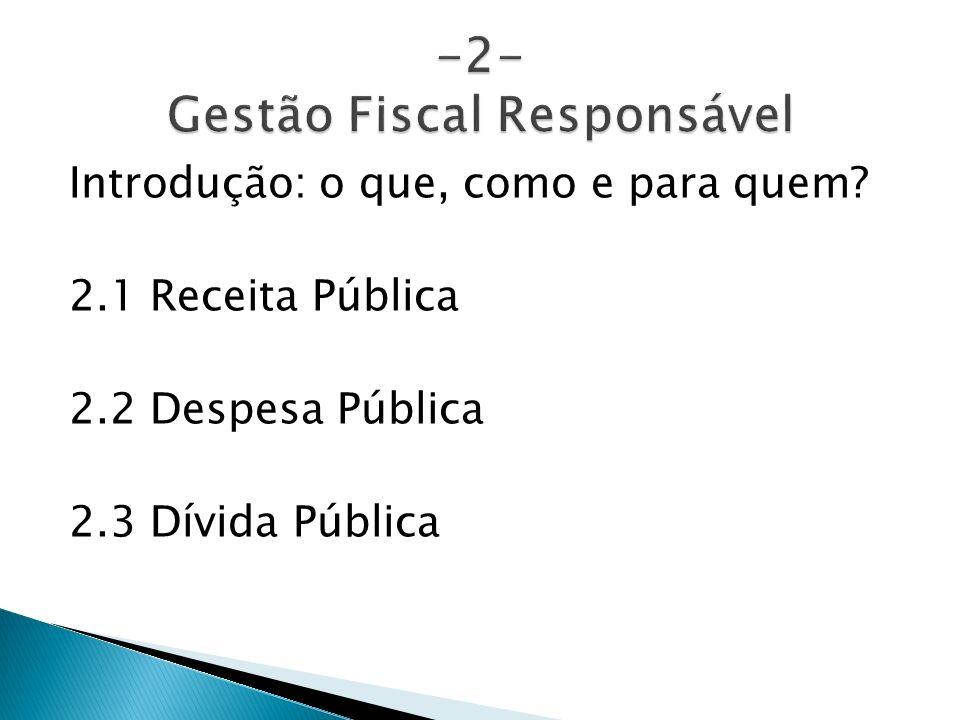 Introdução: o que, como e para quem? 2.1 Receita Pública 2.2 Despesa Pública 2.3 Dívida Pública